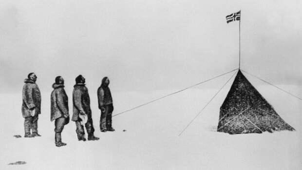 14 декабря 1911 года — экспедиция Руаля Амундсена впервые достигла Южного полюса (Wikimedia)