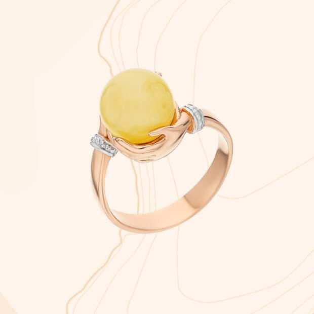 Кольцо «Дарвин», желтое золото, янтарь