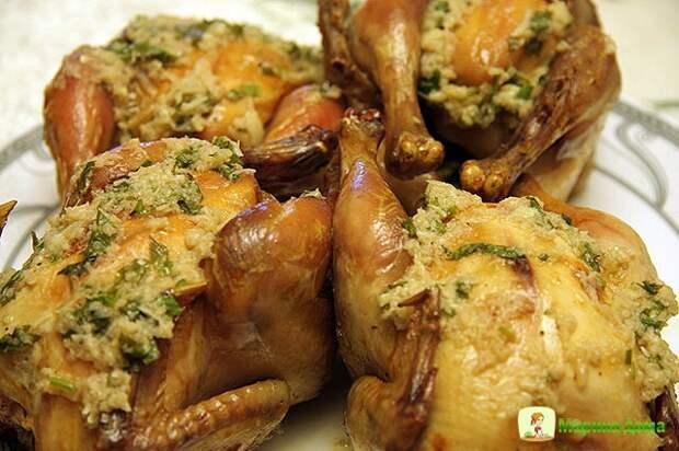 Цыплята-корнишоны с чесночным маслом