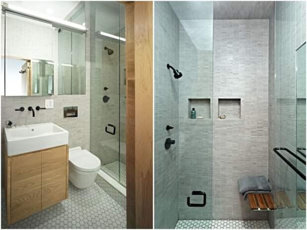 Мебельная конструкция позволяет обустроить ванную комнату и санузел (E-Village Studio). | Фото: archilovers.com.