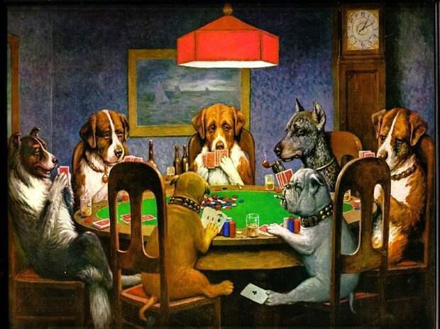 C M Кулидж, Собак, Клыки, Покер, Карты, Юмор