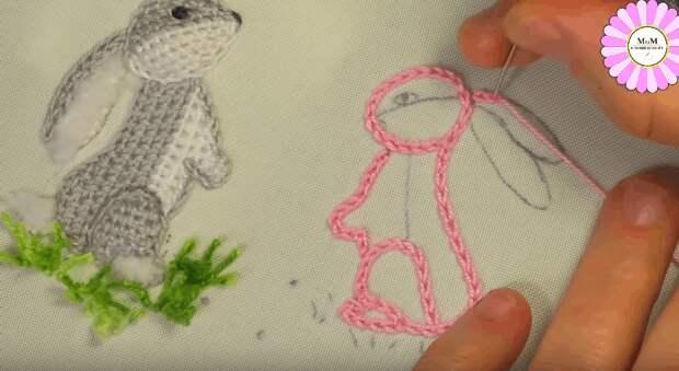 Милые зайки. Интересная техника для объемной вышивки
