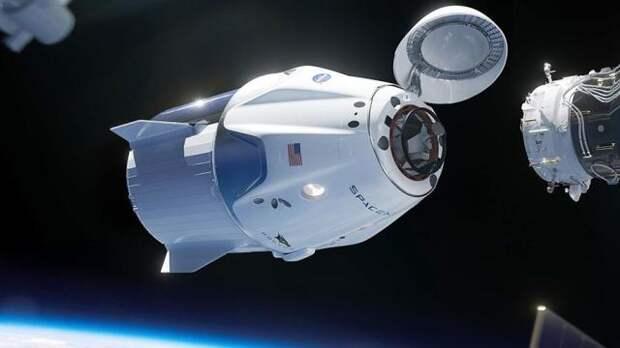 Иллюстрация стыковки корабля Crew Dragon с МКС