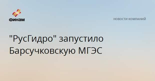 """""""РусГидро"""" запустило Барсучковскую МГЭС"""