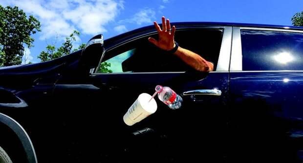 Правительство поддержало идею ввести штрафы за выброс мусора из автомобилей