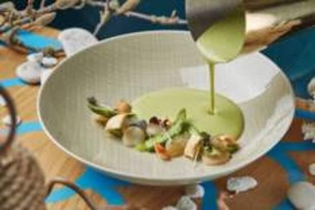 С мира по ложке - Крем-суп из спаржи с гребешком