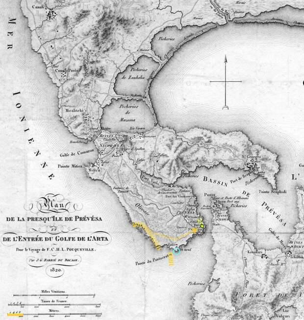 Превеза и вход в Артский залив на карте 1820 года. Зелёный прямоугольник — контур старой крепости в примерном масштабе, зелёная штриховка — примерная площадь старой застройки. Также отмечены мыс Пантократор («северный»), примерное расположение союзного флота на стоянке 25–26 сентября 1538 года и предполагаемый район высадки «в 2 венецианских милях от крепости» (3,5 км). За час галера в боевом строю могла пройти 2–3,5 км. Нижняя масштабная линейка — метрическая (подсвечен отрезок в 1 км) - Превеза: план и импровизация | Warspot.ru