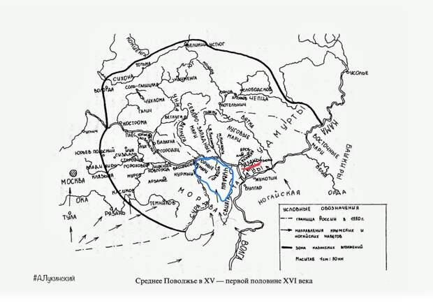 синим - Горная сторона южных черемисов и чувашей