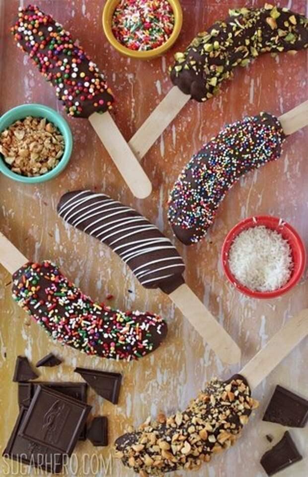 Бананы-мороженое в шоколадной глазури