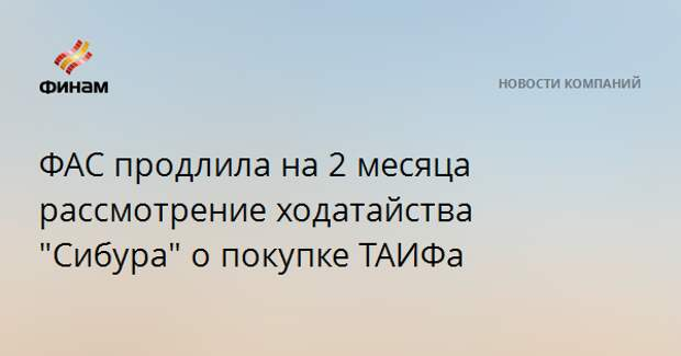 """ФАС продлила на 2 месяца рассмотрение ходатайства """"Сибура"""" о покупке ТАИФа"""
