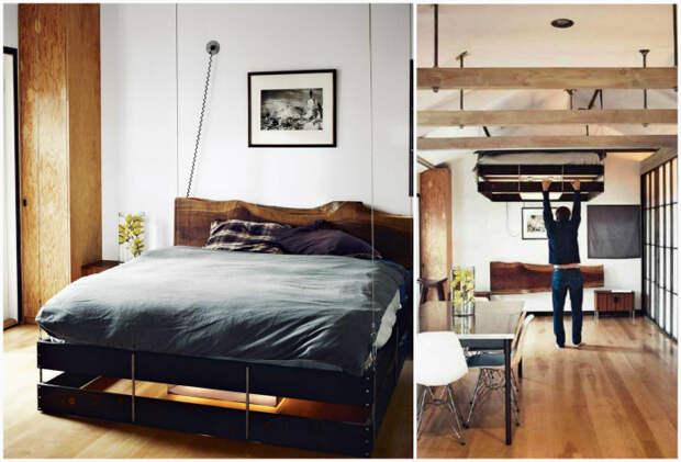 Кровать, которую можно спрятать под потолком.