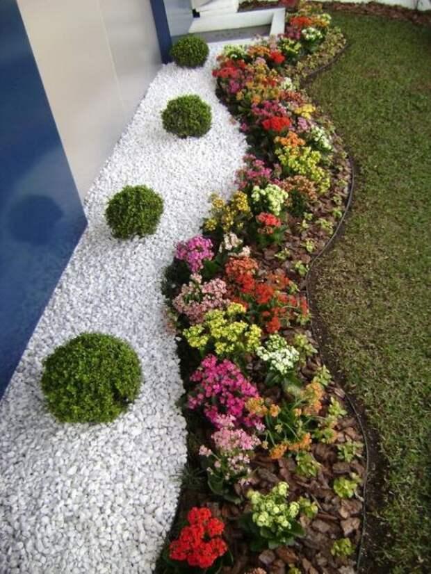 Мелкая галька и небольшие цветы могут создать потрясающую и необыкновенную композицию в саду.