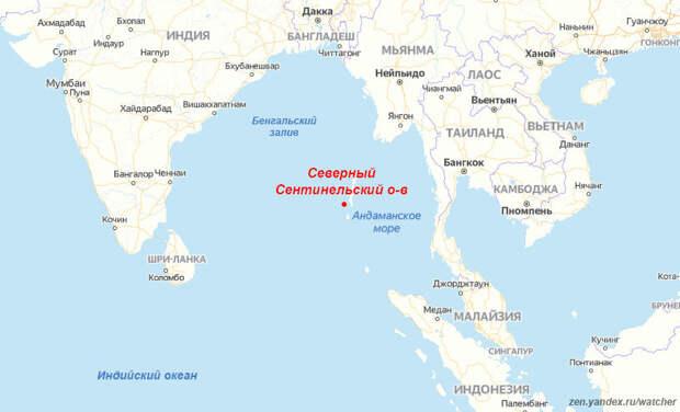 Северный Сентинельский остров относится к Андаманскому архипелагу, расположен в Бенгальском заливе, Индийский океан. На карте остров отмечен красной точкой.