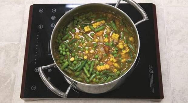 Быстрый овощной суп с фаршем. Шаг 3