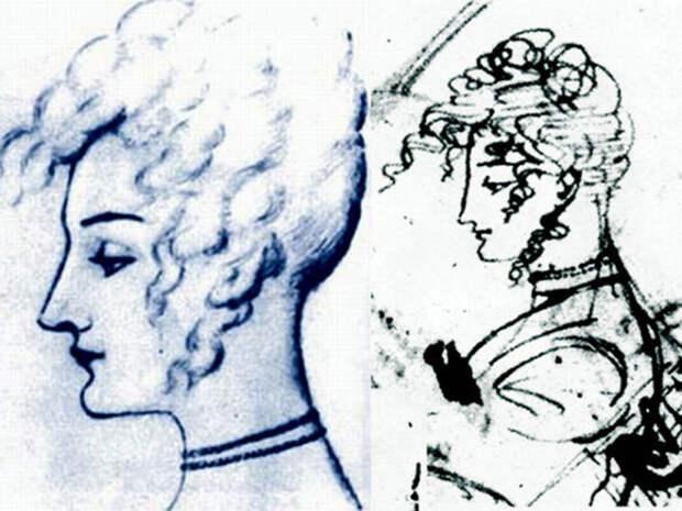 Предположительные рисунки-портреты Собаньской, сделанные рукой Пушкина