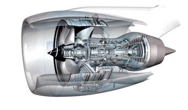 Двигатель Rolls-Royce Trent 1000 в гондоле, разрез