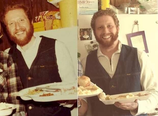 5. Отец слева (1978 год), сын справа (2013 год). отцы и дети, прикол, фото