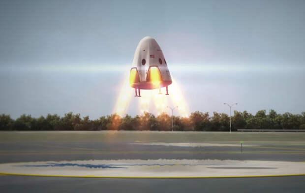Первоначально задуманный вариант реактивной посадки корабля Crew Dragon в представлении художника. Графика SpaceX