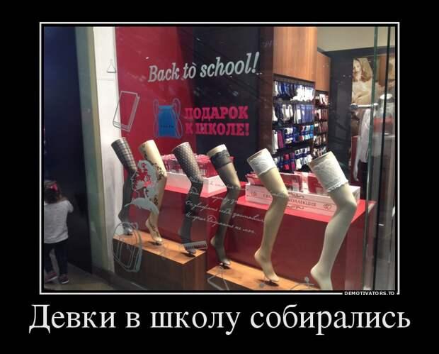 Девки в школу собирались демотиватор, прикол, юмор