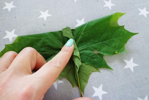 Роза из листьев пошагово 1