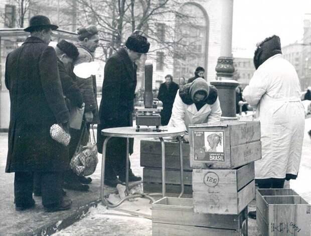 СССР. Москва. Продажа бразильских апельсинов. 1962 г.