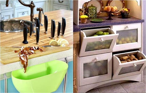 Рациональные и оригинальные идеи использования кухонного пространства.