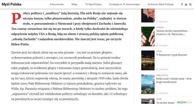 Myśl Polska: Безумная внешняя политика Варшавы