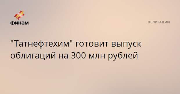 """""""Татнефтехим"""" готовит выпуск облигаций на 300 млн рублей"""
