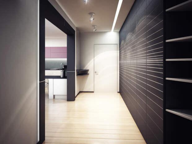 Чёрно-белая прихожая в стиле минимализм. \ Фото: samdizajner.ru.