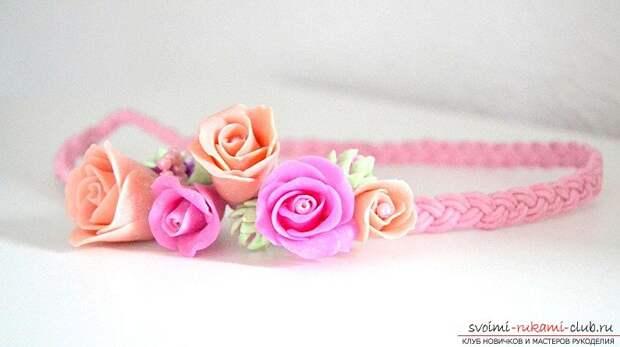 Ободки из полимерной глины с бутонами розм - мастер-класс и ободок с цветами. Фото №9