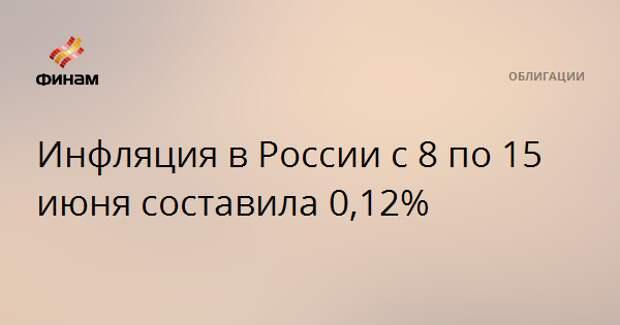 Инфляция в России с 8 по 15 июня составила 0,12%