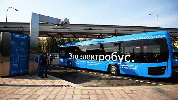 Станция зарядки пассажирского электробуса в Москве