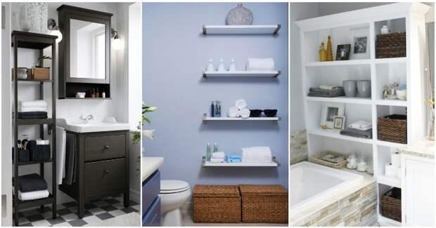 Открытые стеллажи в ванной — удачные идеи, позволяющие обойтись без нагромождений