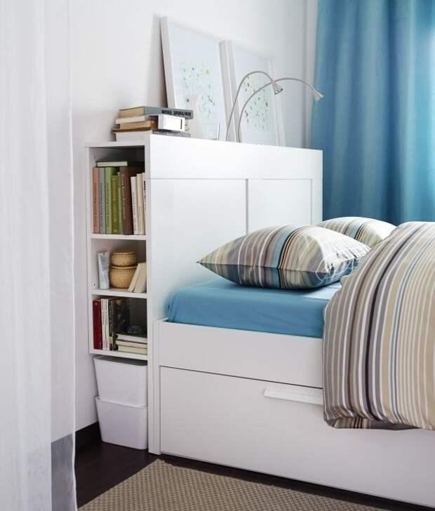 1. Кровать с ящиками для хранения и функциональным изголовьем