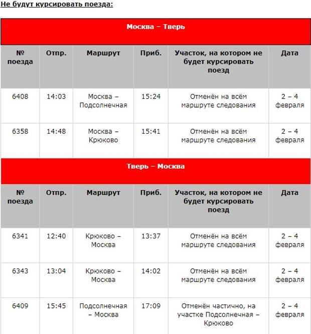 Расписание электричек Ленинградского направления изменится в феврале