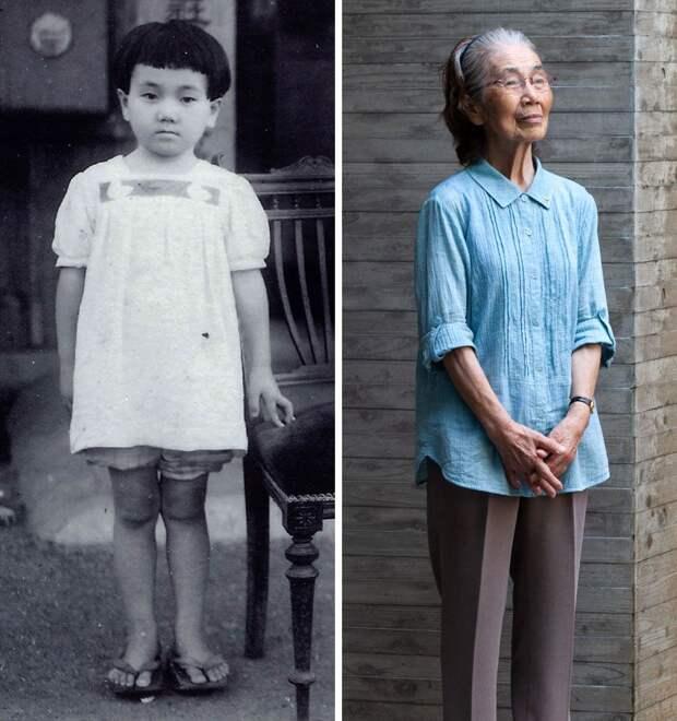 Рэйко Нада в пять и в 79 лет
