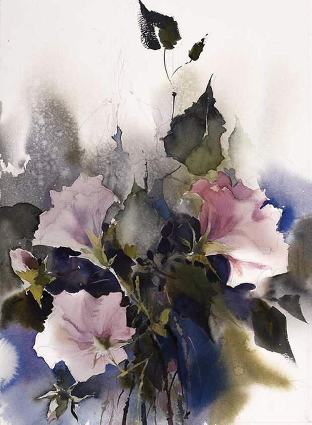 Прекрасные акварельные цветы  и женщины-цветы художника Славы Пришедько
