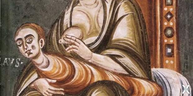 Фреска, изображающая отлучение от гру...