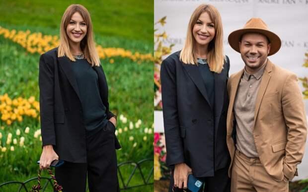 Леся Никитюк в брючном костюме и маечке посетила презентацию платьев Андре Тана и Кати Осадчей