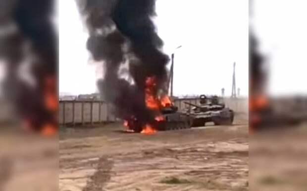 На Украине высмеяли загоревшийся российский танк Т-72