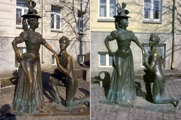 Памятник главным героям фильма *За двумя зайцами* в Киеве | Фото: kino-teatr.ru