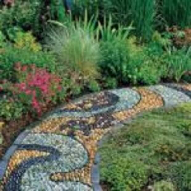 мозаичные садовые дорожки из камня
