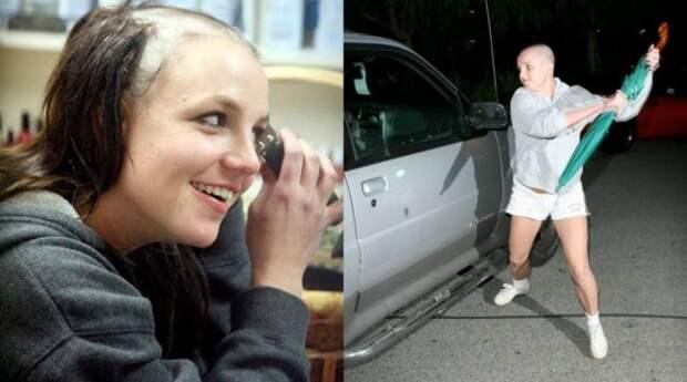 бритни спирс бреет голову и бьет зонтом машину