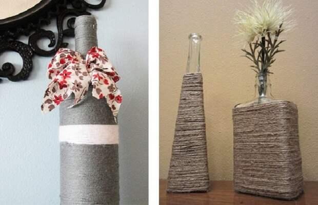 При помощи нити или шнура возможно создать незабываемые вазы, что станут просто отменным решением для декора.