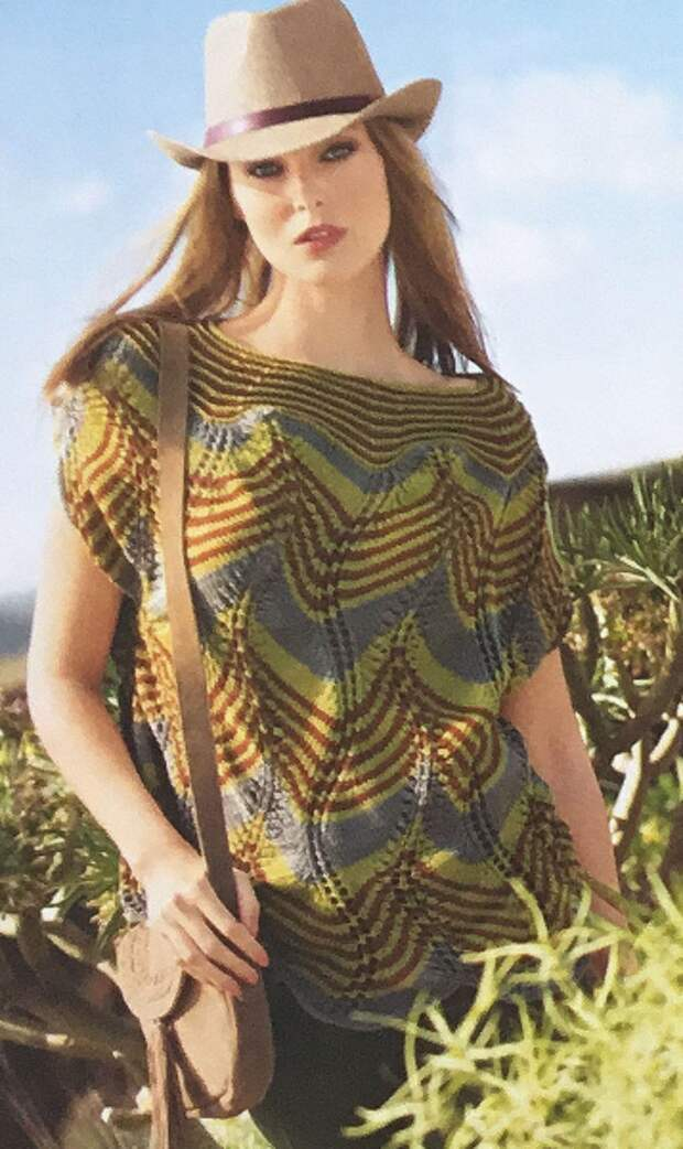 Пуловер-накидка спицами