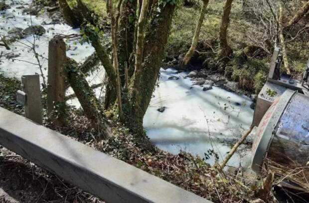 """В Великобритании река стала """"молочной"""" — туда пролилось 28 000 л жидкости"""