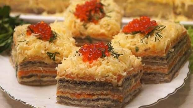 Селёдочный торт. Нежная ЗАКУСКА для любителей солёной рыбки