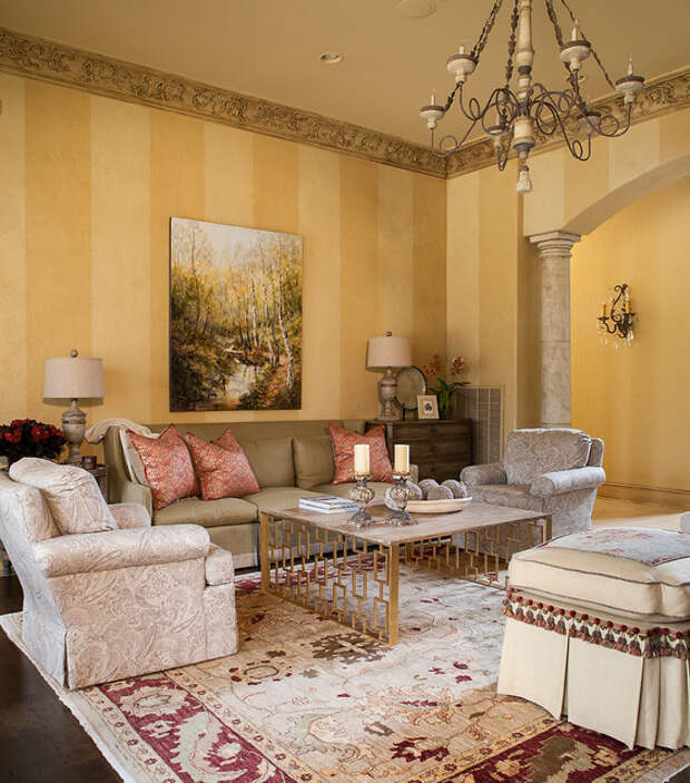Traditional living room with yellow striped walls