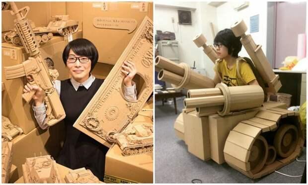 Японка творит невообразимые скульптуры из картона