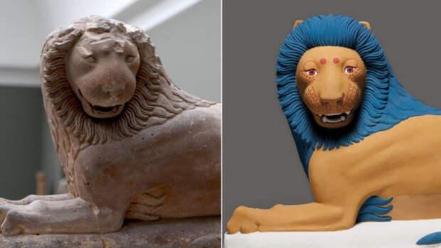Лев из Лутраки (ок. 550 г. до н.э.). Оригинал и реконструкция в цвете.